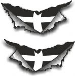 SMALL Pair Triangular Ripped Torn Metal Rip & Cornwall County Flag Vinyl Car Sticker 75x35mm Each